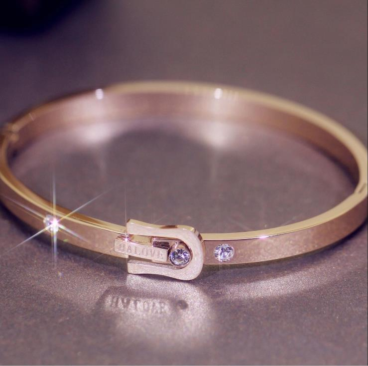 Diamond bracelet titanium steel gold plated rose gold lady Bracelet Stainless Steel Korean jewelry