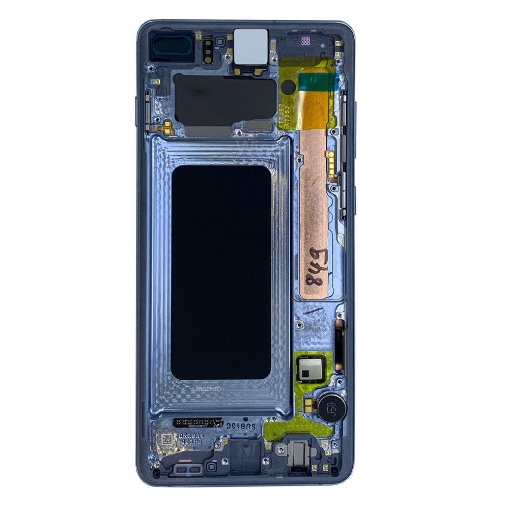 ORIGINAL سوبر AMOLED S10 LCD لسامسونج غالاكسي S10 S10 G973F G973 G975 زائد G975F مع البقع مع شاشة تعمل باللمس الجمعية محول الأرقام الإطار