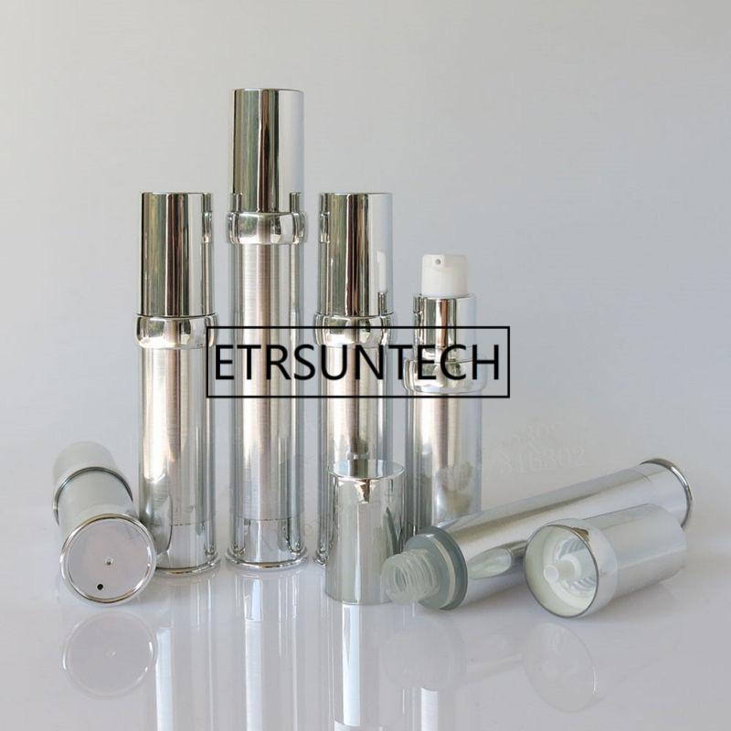 garrafa airless prata 15ml com bomba de prata UV e loção garrafa tampa de prata inferior usado para Cosmetic Container Pacote F20172224