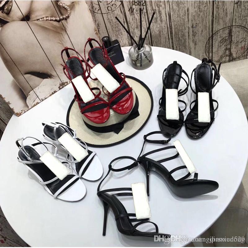 디자이너 가죽 샌들 2019 여름 신제품 숙 녀 신발 로마 높은 굽된 신발 해변 금속 단추 섹시 한 샌들 연회 여성 신발 41