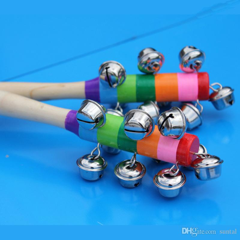 DHL Baby Toys Rattle Rainbow With Bell Orff Musical Instruments Educational Wooden Toys Pram Crib Handle Activity Bell Stick Shaker