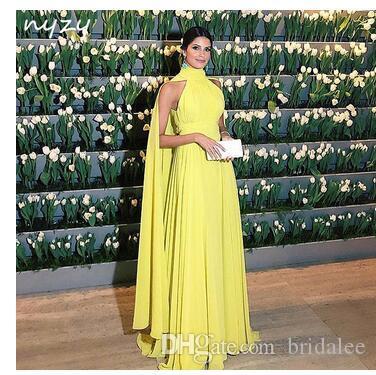 Formal Dress Women Elegant Chiffon Ruched High Neck Cape Long Sleeve Yellow Evening Dress 2020 Vestido Longo Festa