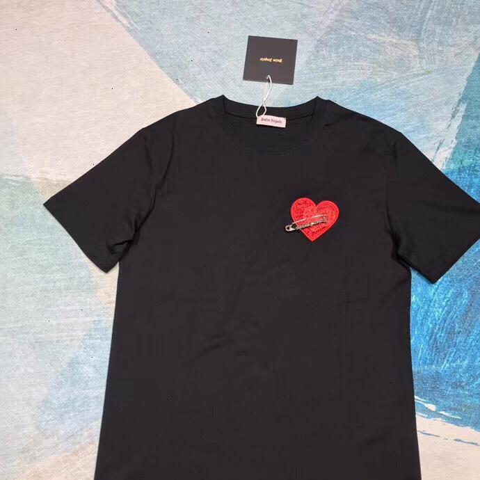 Womens T-shirt di moda asiatico di formato S-LWSJ000 alta qualità Trend Classic Pin Cuore ricamato T-Shirt9665