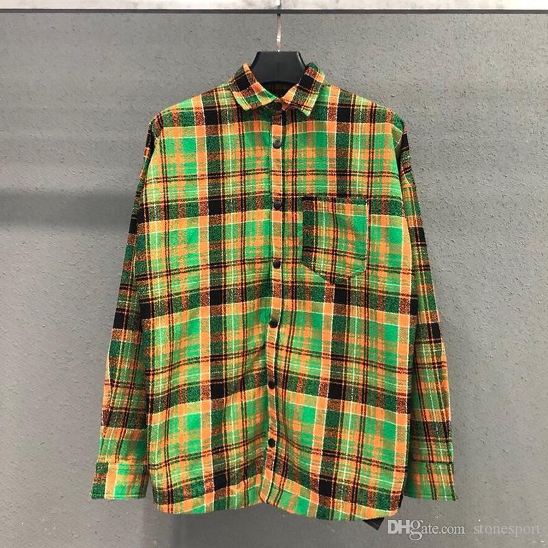 2020 new PALMM ANGELS green pink woven striped shirt men's and women's jacket tee S -XL