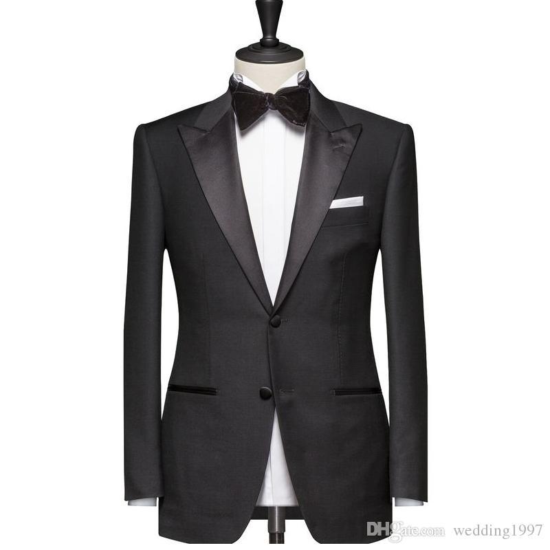 Black Men Suits for Wedding Prom Groom Tuxedos Peaked Lapel Slim Fit Man Suit Set 2 Piece Jacket Pants Custom Blazer