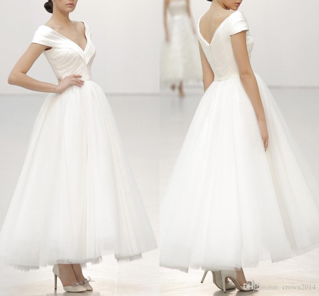 2020 New V-Ausschnitt Brautkleid knielangen Satin gefaltete elegantes weißes Brautkleid mit Flügelärmeln Einfache Plus Size Vestido De Novia