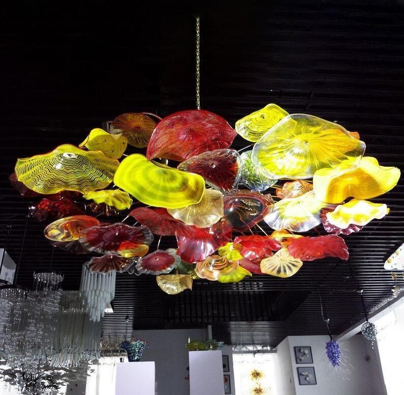 European Hand Blown Glass Ceiling Lighting Art Decorative Flower Chandelier Light Italian Murano Glass Plates Pendant Chandelier Lamps