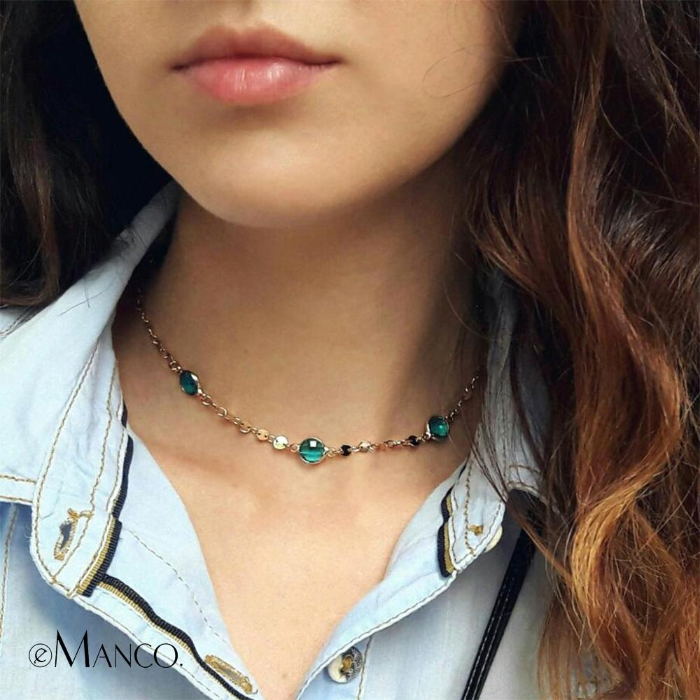 eManco Blue Crystal Choker Necklace Beads Making Charming Copper Chain Lady Gifts for Women Wholesale 4 Items Y200323