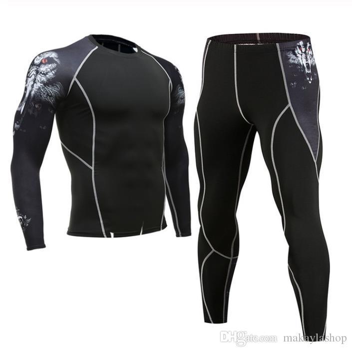 Erkek spor Koşu set sıkıştırma T-Shirt + pantolon Cilt Lastik Uzun kollu spor Rashguard MMA Eğitim elbise spor Yoga takım elbise