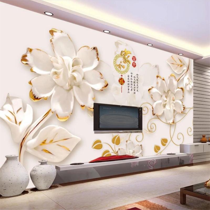 murale personalizzato foto 3D Wallpaper papel de Parede grande murale fiori in rilievo salotto alla moda carta della stanza parete di fondo 3D