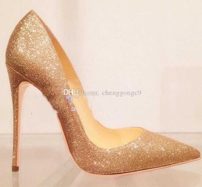 Moda Donna Scarpe Oro Giltter Paillettes Tacchi alti Tacchi a spillo Pompe Scarpe da sposa Scarpe eleganti 120mm