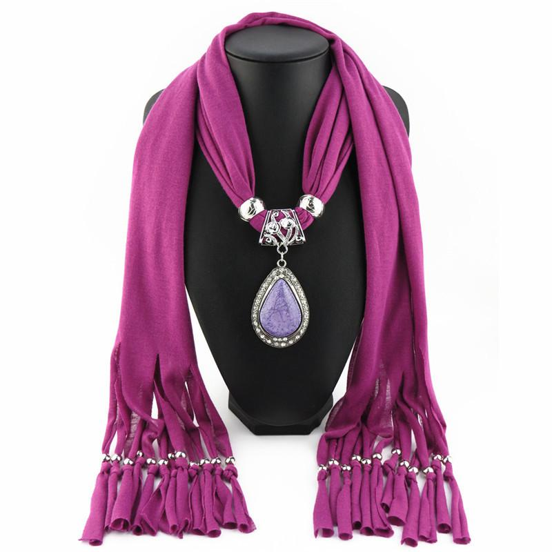 Trendy Necklaces & Pendants For Women Purple Polyester Shawl Scarf Fashion Water Drop Stone Pendant Women Necklace Colgantes