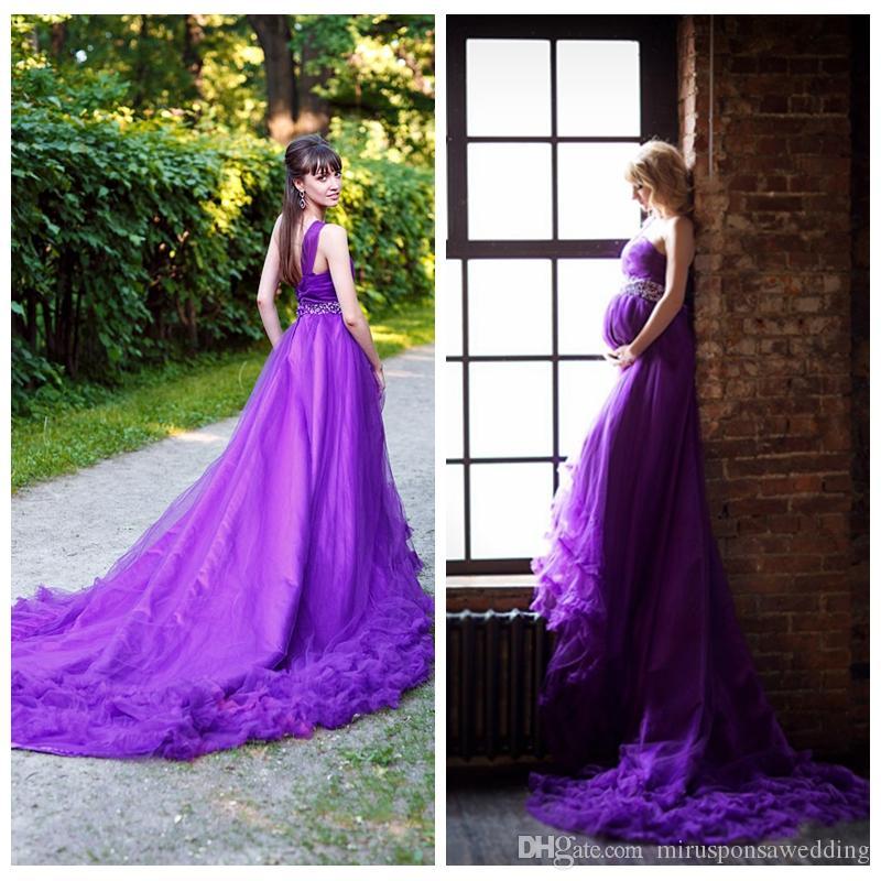 Шикарный A-Line Тюль одно плечо свадебное платье Crystals Бисероплетение суд Поезд Фиолетовый свадебное платье Свадебные платья Свадебные платья