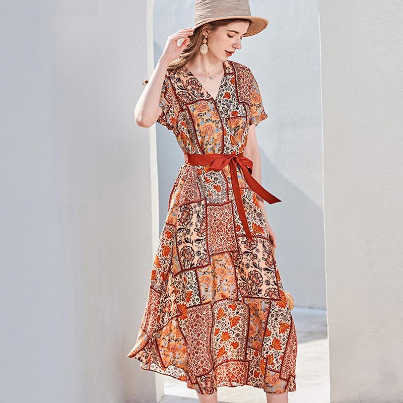 Pista di seta 100% delle donne da Sexy scollo a V maniche corte stampata floreale telaio dell'arco cinghia di modo casuale metà estate Abiti da vacanza