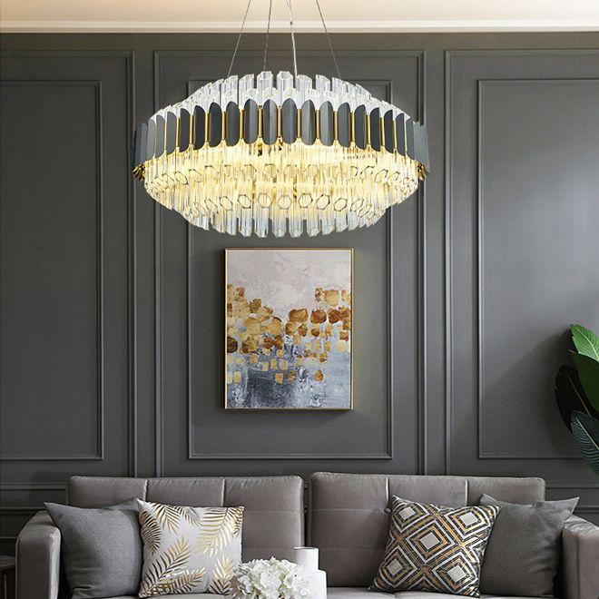 pendant Modern high-end lustre de cristal de iluminação de luxo rodada lustres de cristal pingente de luz LED lâmpadas para estar quarto quarto