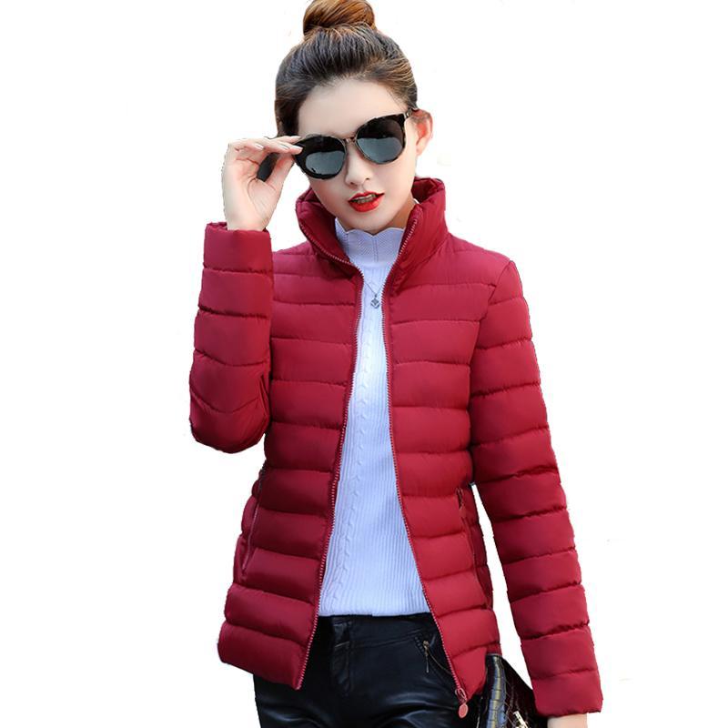 Cuello alto Mujer Chaqueta básica Invierno Delgado Sólido Otoño Chaquetas de invierno para mujer Abrigo corto para mujer Jaqueta Feminina Inverno 2019