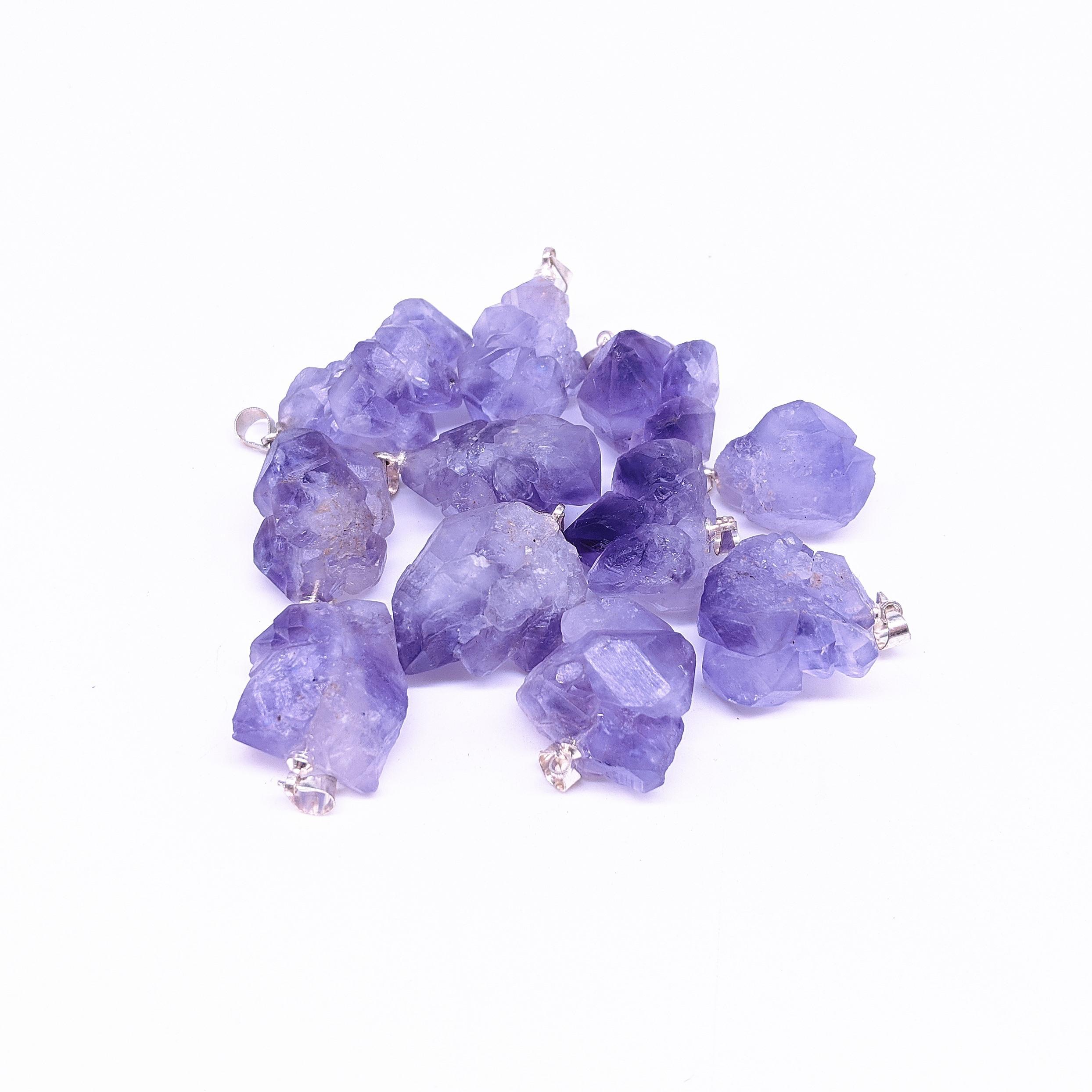 20pcs / lot de la joyería que hace primas naturales amatista colgante de piedra áspera Geode flor Druzy Cluster amatista Colgante para el collar