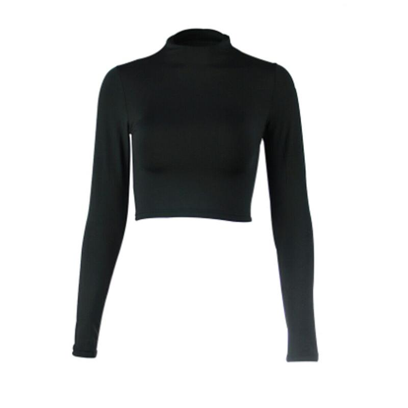 Neue Frauen Solid Basis Hemd T-shirt Sexy Crop Tops Slim Langarm Strick Crew Neck Bottoming T-Shirt Frauen Herbst Kleidung T Shirts
