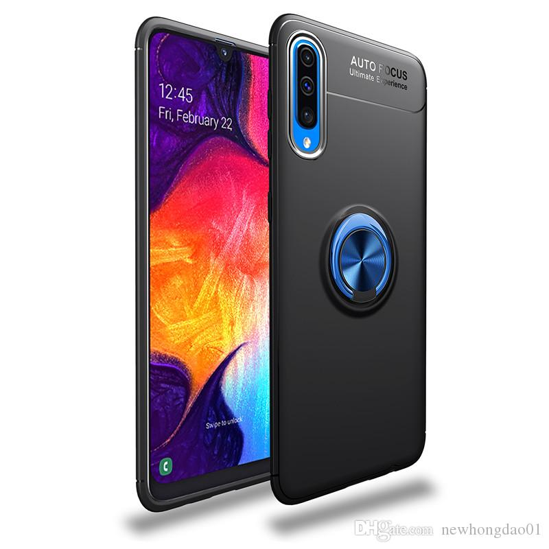 Ring holer Anti-fall Phone Case for Samsung Galaxy A70 Shockproof Anti-finger Adsorption mobile phone cover with Kickstand