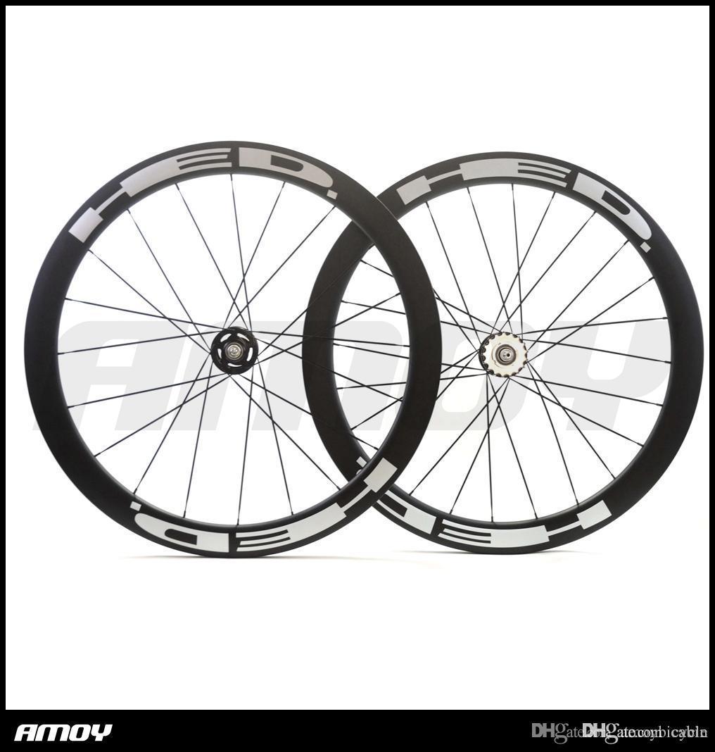 Pista de carbón 700C moto juego de ruedas de 50mm pintura HED remachador tubular flip-flop fijado ruedas de la bicicleta Una velocidad de marcha