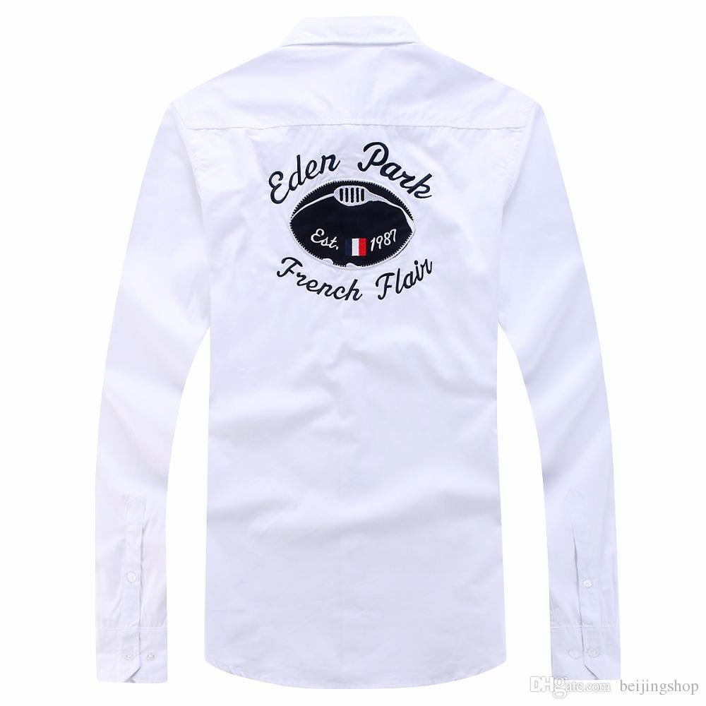 Polo Eden Park Camicia Uomo camicie maschili in cima Nizza di disegno di marca di modo di qualità casuali camicie di cotone da ricamo solido XXL