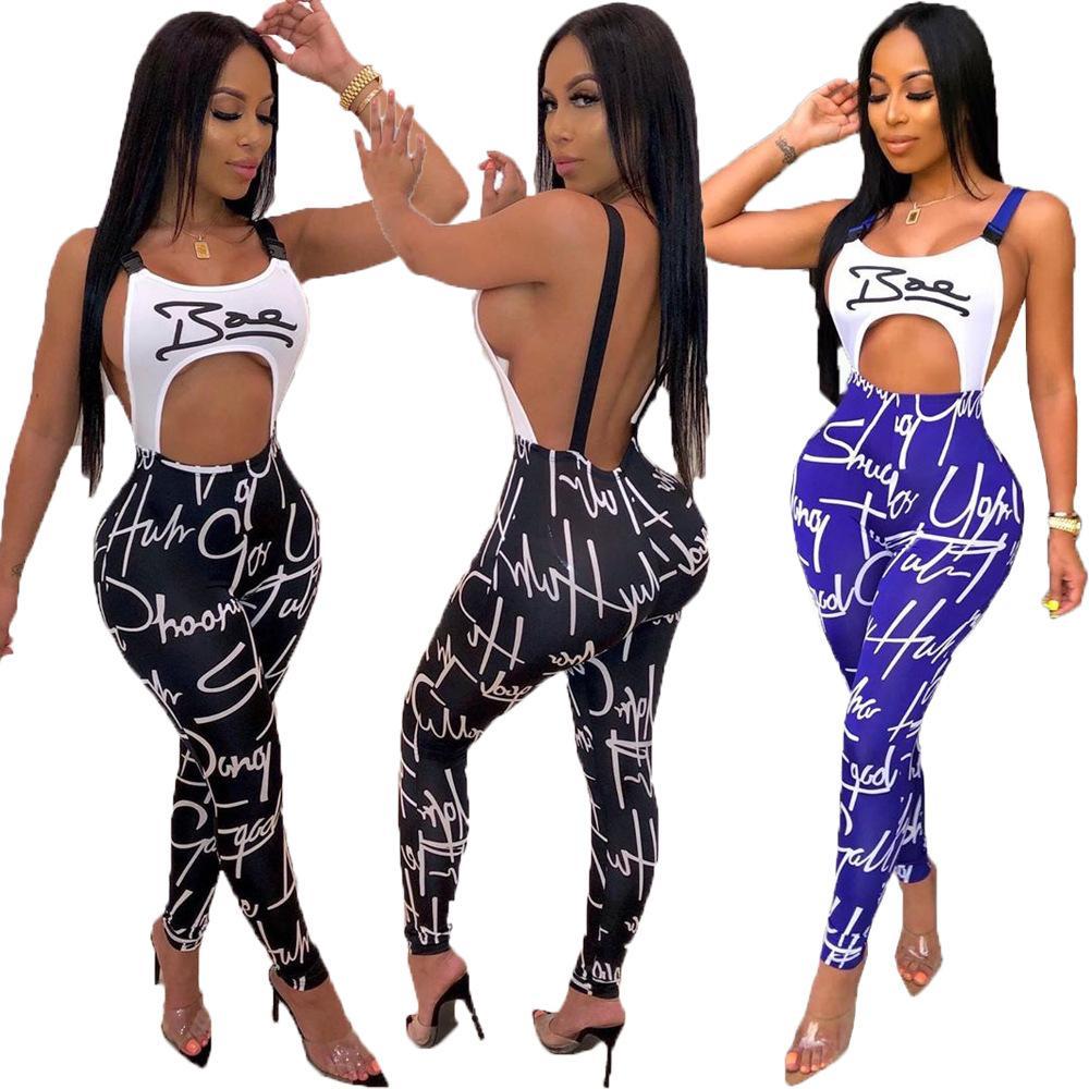 Femmes Sexy 2020 Jumpsuits été Nightclub style barboteuses Femmes Mode Lettre Imprimer Camisole Sexy waistless Jumpsuits Backless barboteuses