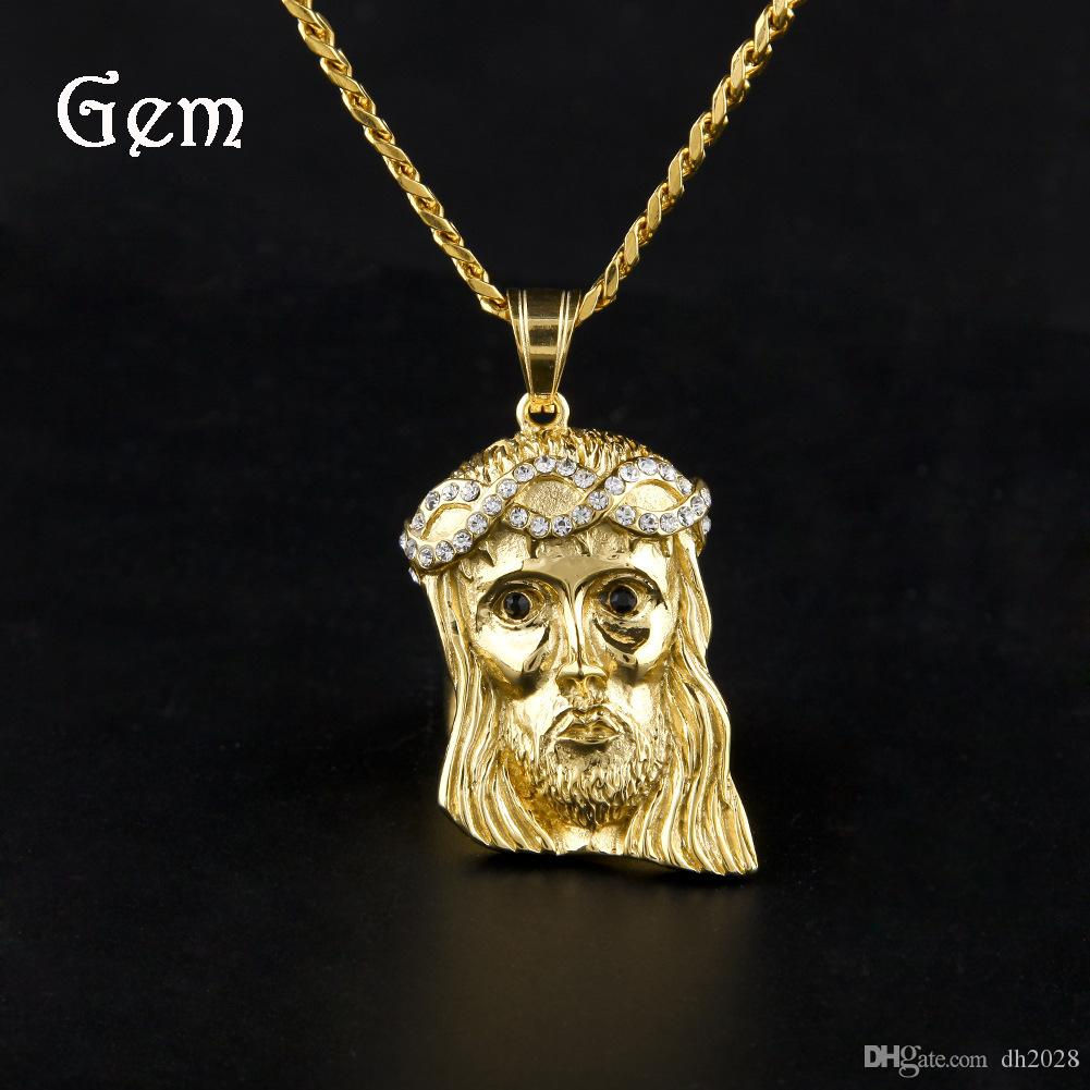 2019 New 14K Gold Plated Jesus Head Charm Men Pendant Religious Catholic Jesus Face Piece Pendant Jewelry
