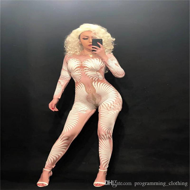 F12 Ballroom dance cosrumes white print jumpsuit dj female bodysuit pole dancer singer outfit bar catwalk performance wears clothe dress ktv