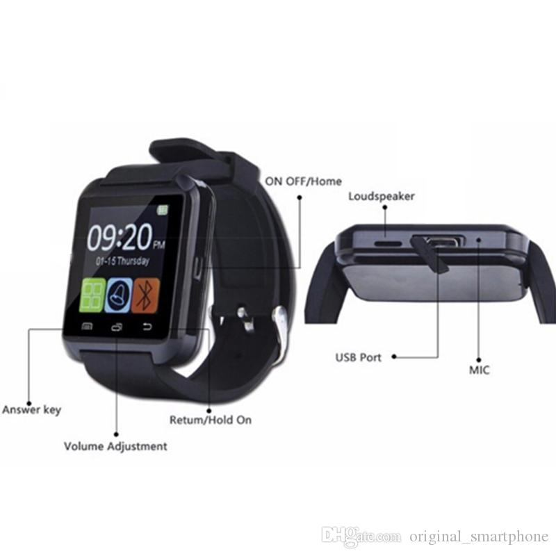 Original U8 Smart Watch Bluetooth Electronic Fitness Tracker Smart Wristwatch Supports Phone Callling Passometer Bracelet For iPhone Android