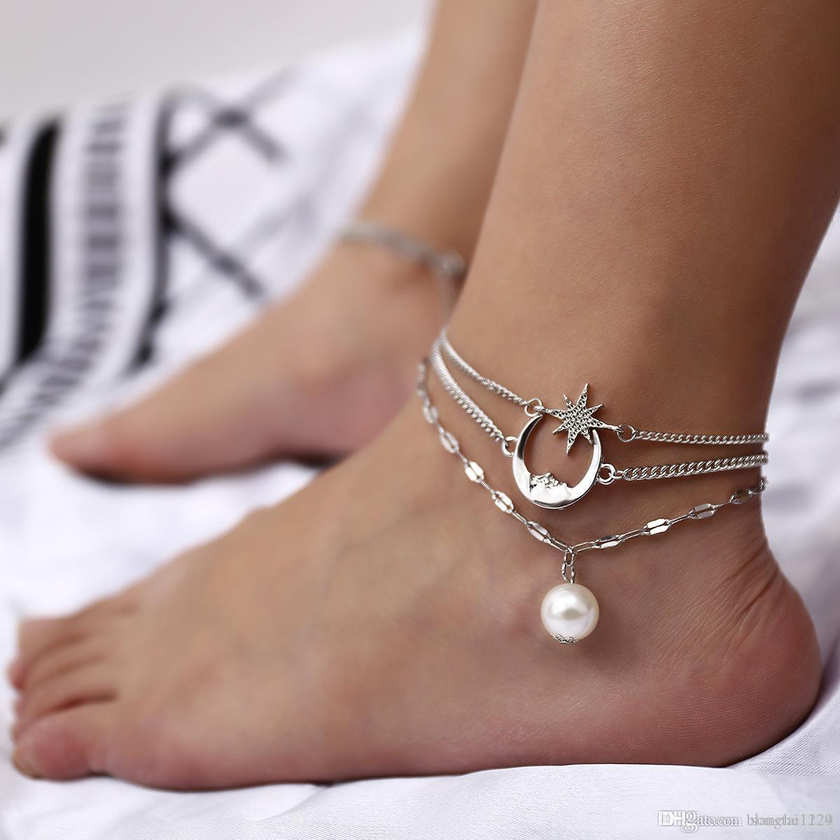Women Gold Silver Plated Toe Ring Ankle Bracelet Chain Foot Jewelry YH