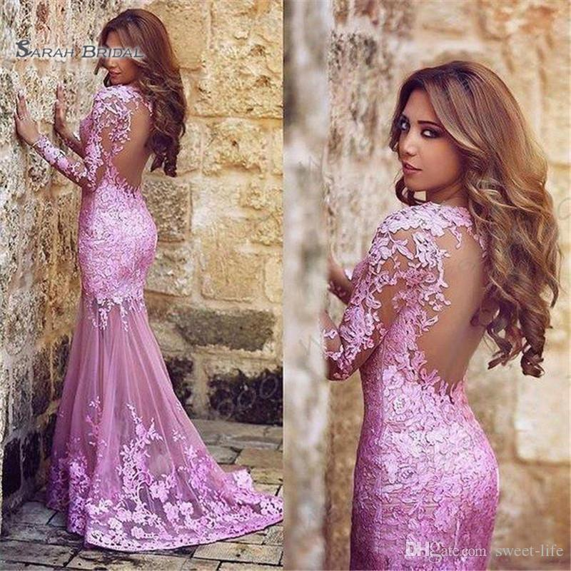 2019 Arabic Style Pink Lace Mermaid Evening Prom Dresses Long Sleeves Backless Mermaid Bride Party Gowns
