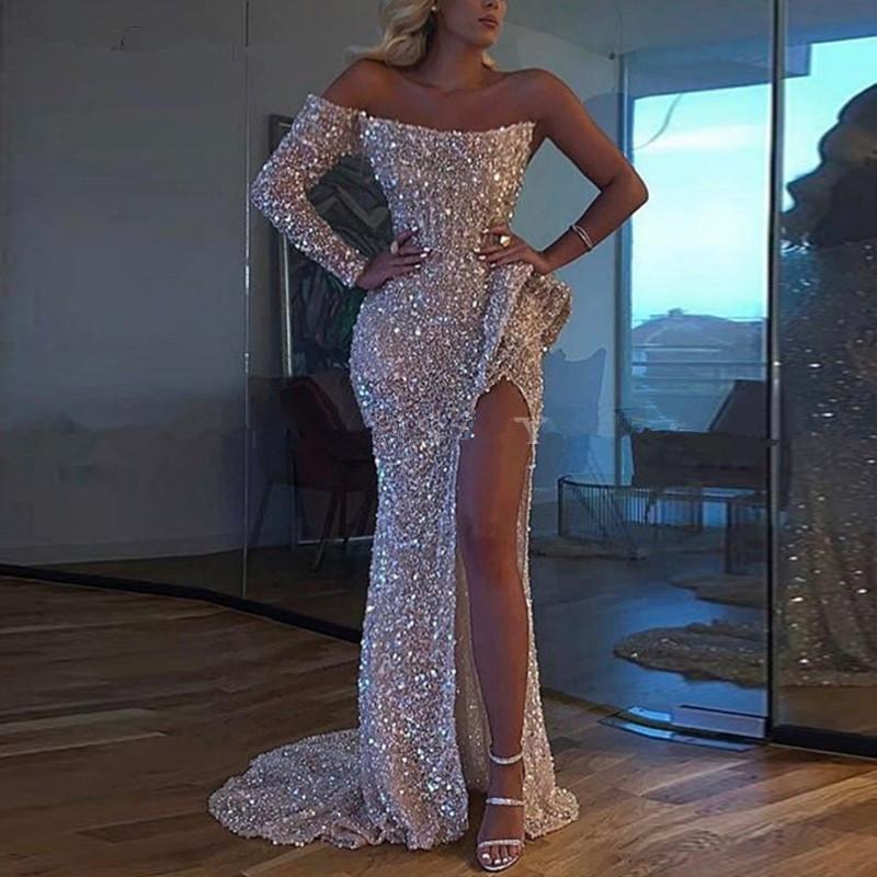 Sparkly Silver Sequin sirène de l'épaule des robes de bal avec Slit manches longues Graduation fille noire Robe de soirée robe de soirée