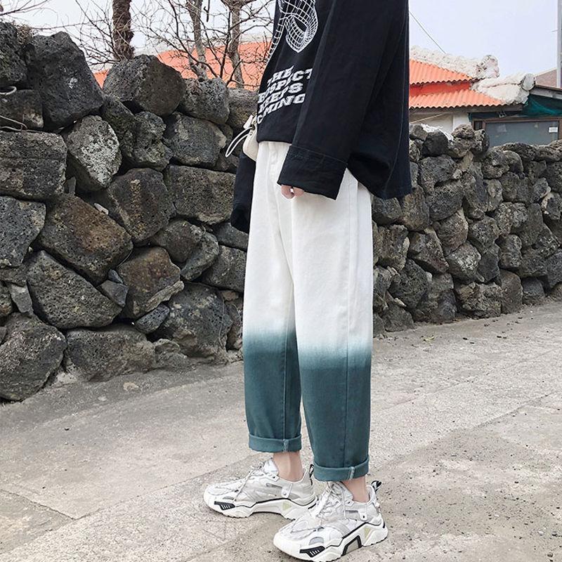 Moda Retro Gradiente Jeans homens casual calça jeans reta calças Men Streetwear selvagem solto Hip Hop Jeans Calças Mens S-2XL