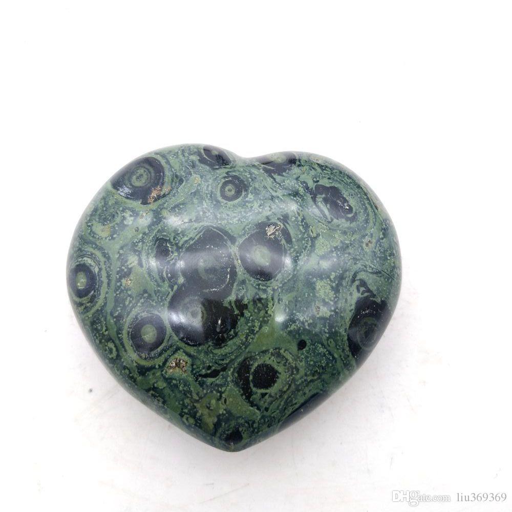 Pierres précieuses Oeil de paon naturel Coeur poli malachite CrystalMeditation Chakra Reiki pierre cadeau décoration famille
