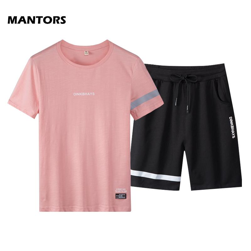 Uomo sportivo Imposta Estate Tute Men 2 pezzi T-shirt Set + Shorts Moda Abbigliamento sportivo pista da jogging Tuta 2019 Marca Maschio Abbigliamento T200604
