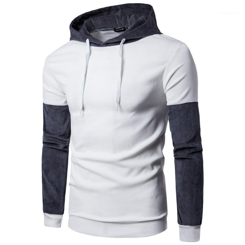 Pullover maschio parti superiori di modo Mens Panelled colore contratto con cappuccio Designer Homme Cappello collare rughe maniche lunghe