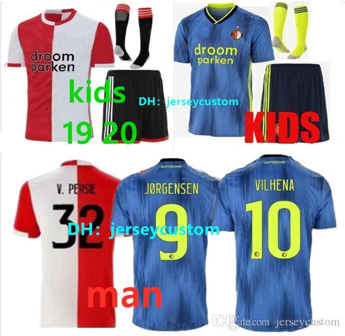 En iyi kalite 2019 Feyenoord adam futbol forması çocuklar kiti ev away19 20 maillot de ayak LARSSON V. PERSIE BERGHUIS VILHENA futbol gömlek
