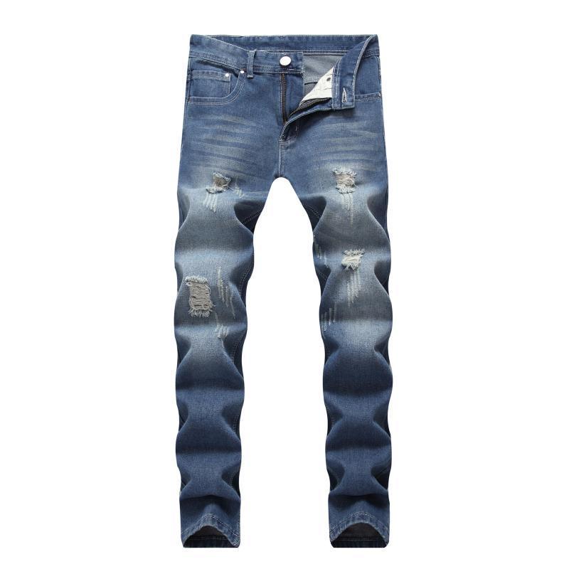 Verdicken Ripped Männer Jeans Stretch Zerstörte High Street Jean Homme Retro Blau Männlich Fashion Design Lange Herren Slim Fit Jeans Großhandel
