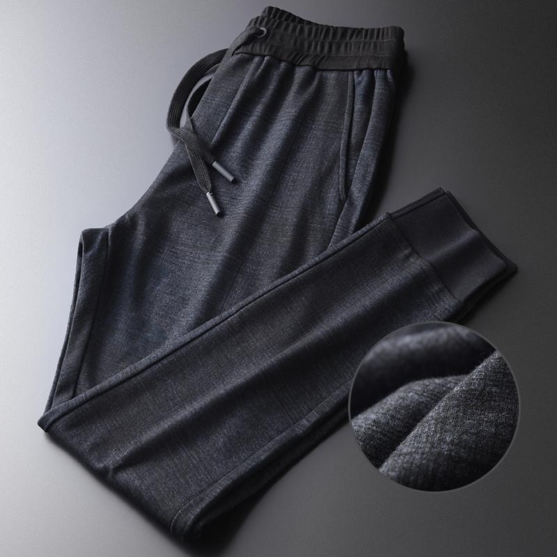 Dar Kesim Casual Man pantolonlar 4XL Minglu Ekose Erkek Pantolon Lüks Yumuşak Örme Elastik Bel Sonbahar Erkek Pantolon Artı boyutu