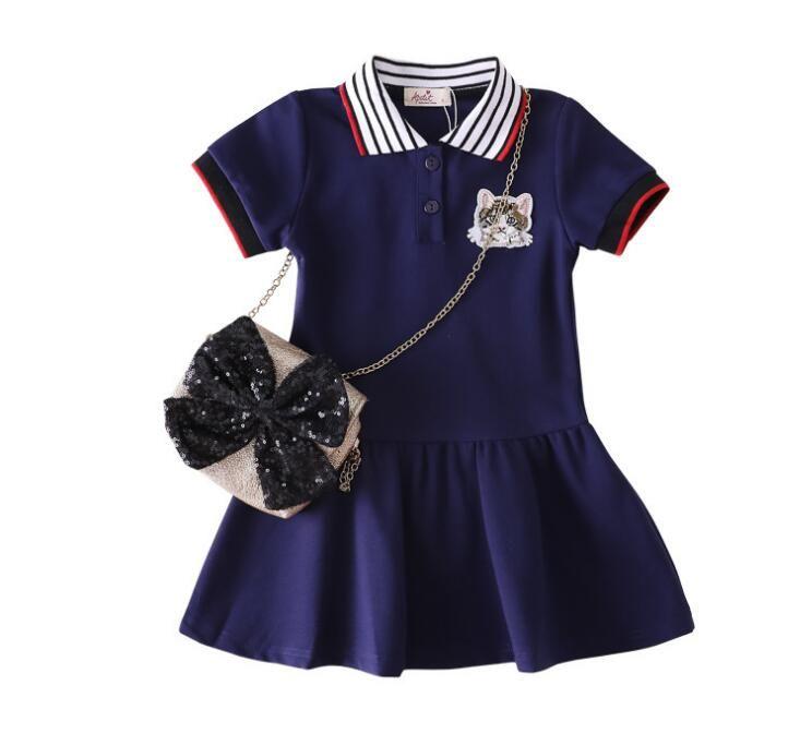 COMERCIO Ropa para niños europeos y estadounidenses 2-8 años de edad bebé niña vestido encantador niña de manga volando chaleco falda