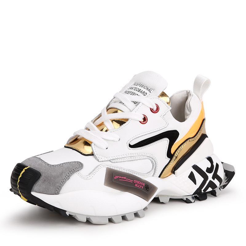 Nuevos deportes zapatos de mujer primavera verano de la manera confortable Sra casuales transpirable plataforma gruesa de color cuero suave zapatos para correr