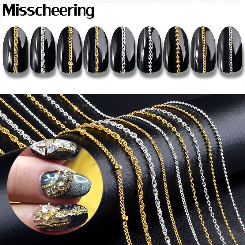 Eauty Saúde 9 Tipos correntes de ouro de prata do metal Punk Cruz 3d Decorações Nail Art jóias charme fazer constatações de DIY Acessórios manicure ...