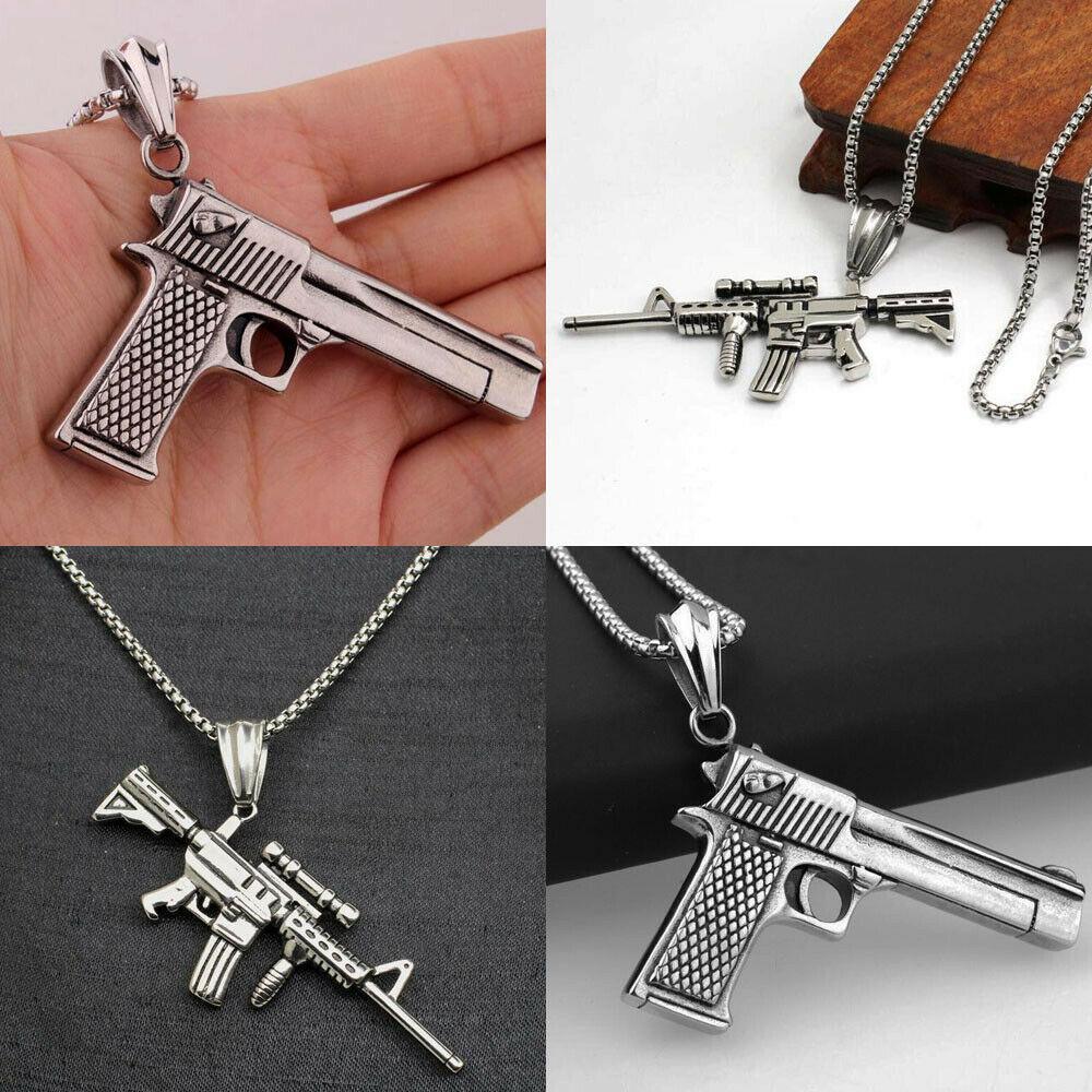 Нержавеющая сталь Gun ожерелье Мужские Vintage Панк Хип-хоп ювелирные подарки