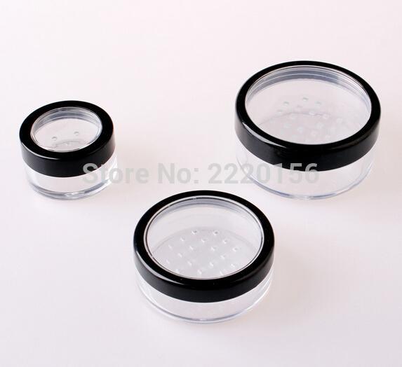 Kozmetik makyaj için elek toz kabı teneke kadar bükülme ile elek döner 500Pcs 10g taşınabilir gevşek toz kavanoz
