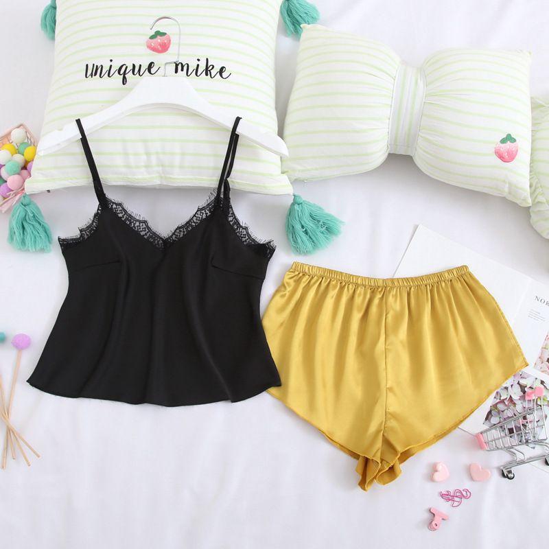 Kadınlar Pijama Pijama İpek Pijamas Kadınlar Uyku Salonu Saten Gecelik V yaka Dantel Ev Giyim Homewear için QWEEK Seksi Pijama