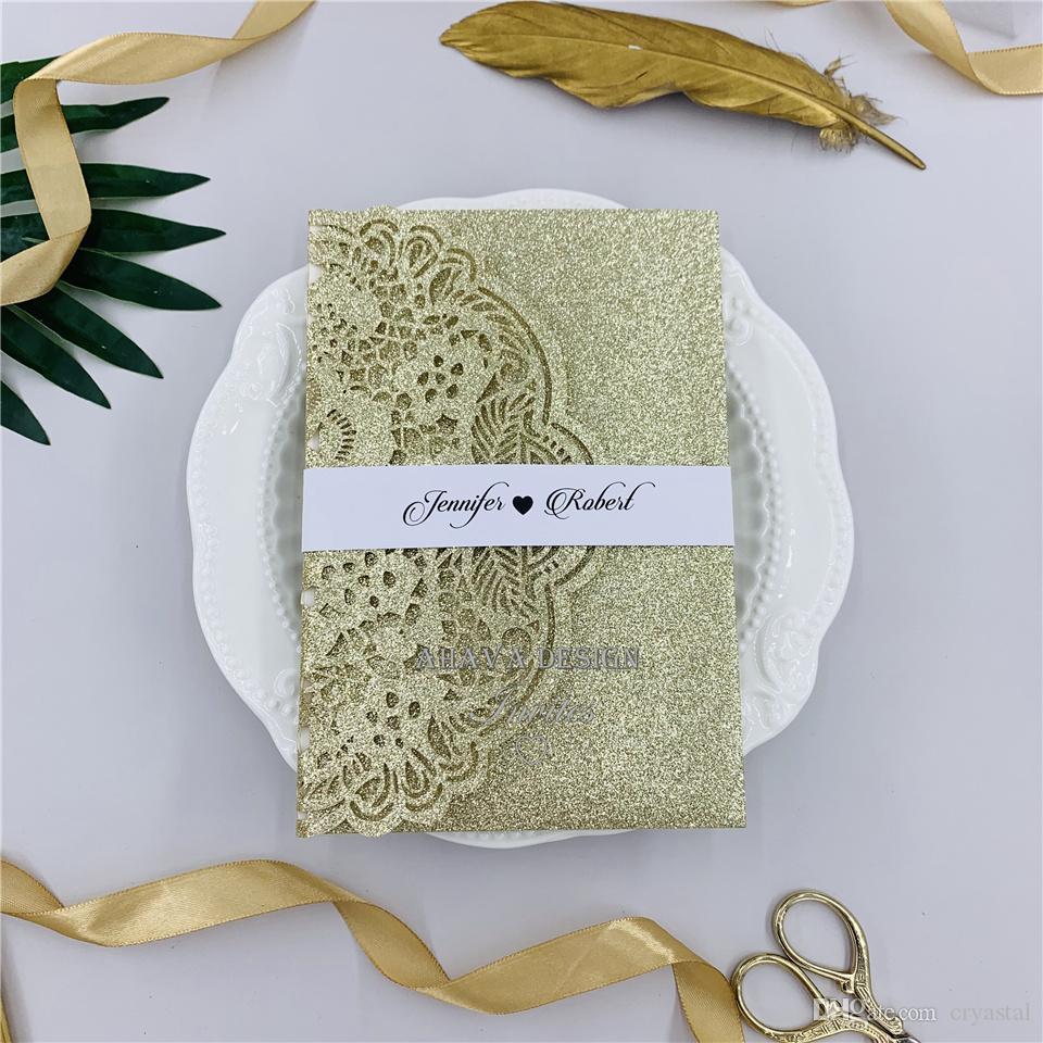 Spécial Glitter Champagne Tri-fold Laser Cut Invitations de mariage avec la carte de RSVP bande de ventre, Laser invite à WeddingsEvent