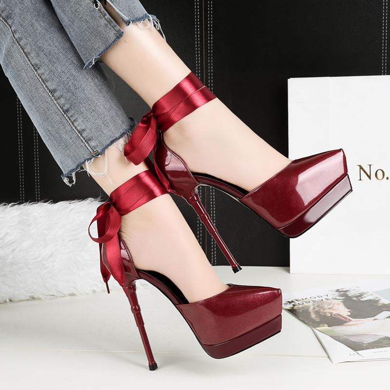 Zapatos de lujo tacones altos sandalias de la patente del dedo del pie puntiagudo-tiras de la Mujer con cierre de tiras de 3cm estilete Borgoña Silve Zapatos MUJER