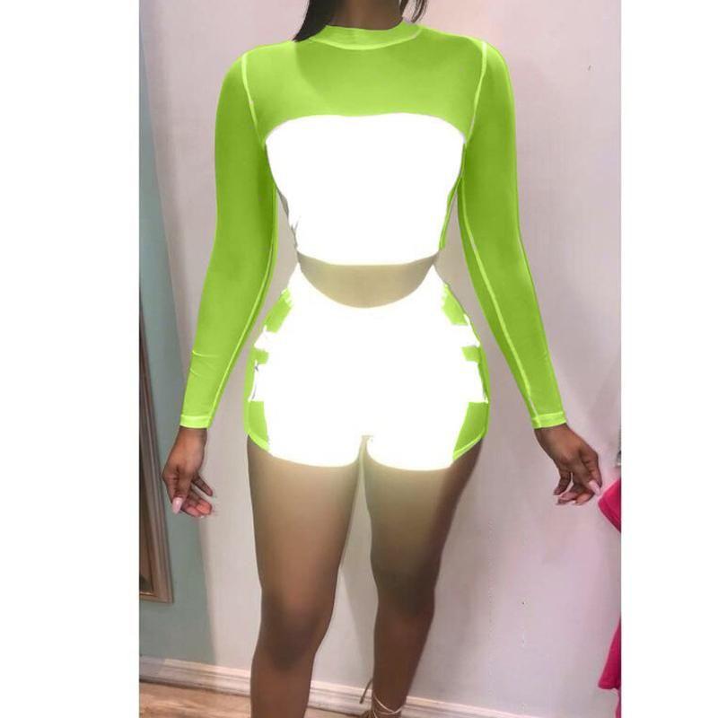 Yansıtıcı Patchwork Biker Şort Uzun Kollu Kırpma Üst Streetwear Kadın Iki Parçalı Set Elastik Bel Kısa Pantolon Kadın Takım Elbise