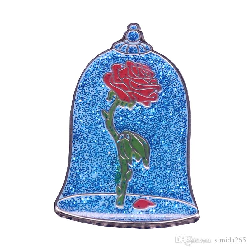 Glass rose badges blue glitter pins disenchanted roses flower brooch surreal art jewelry wonderful surprise Valentine gift