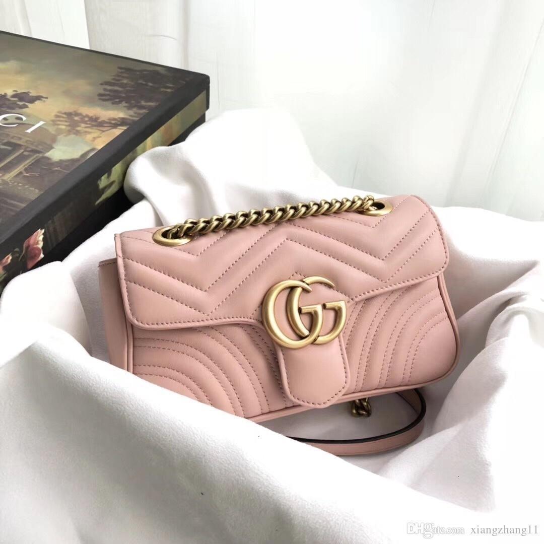 Klassische Leder-Schwarz-Gold-Silber-Ketten heißen Verkaufs-2019 neue Frauen Taschen Handtaschen Schulter-Tragetaschen Messenger Größe: 23cm * 14cm * 6cm 44674404